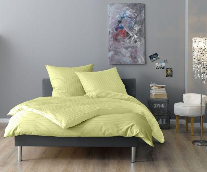 Lorena Mako Satin Streifen Bettwäsche 200x220 cm Verona lindgrün