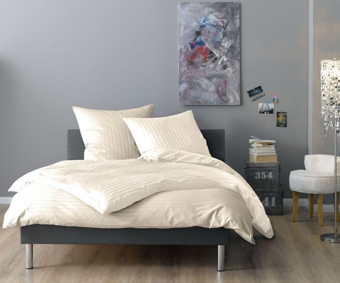 Lorena Mako Satin Streifen Bettwäsche 200x220 cm Verona natur