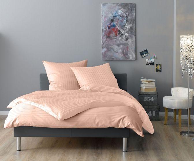 Lorena Mako Satin Streifen Bettwäsche 200x220 cm Verona apricot