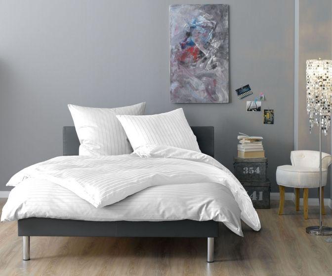 Lorena Mako Satin Streifen Bettwäsche 200x220 cm Verona weiß