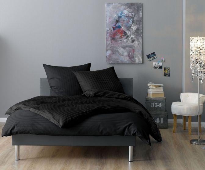 Lorena Mako Satin Streifen Bettwäsche 200x220 cm Verona anthrazit
