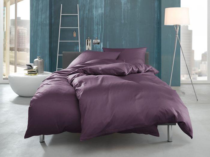 """Bettwaesche-mit-Stil Mako Interlock Jersey Bettwäsche """"Ina"""" uni/einfarbig dunkel lila"""
