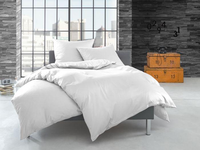 Bettwaesche-mit-Stil Schweizer Mako Satin Bettwäsche weiß – Garnitur 135x200 + 80x80 cm