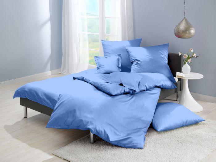 Lorena Mako Satin Bettwäsche uni Classic Azur Blau