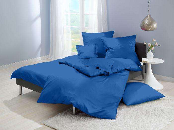 Lorena Mako Satin Bettwäsche uni Classic Royal Blau