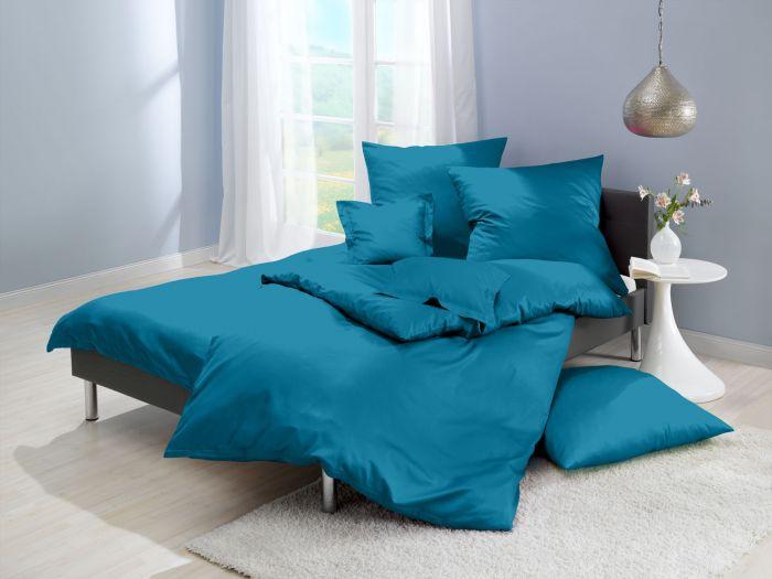 Lorena Mako Satin Bettwäsche uni Classic Ocean Blau ozeanblau