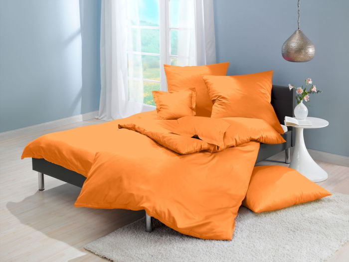 Lorena Mako Satin Bettwäsche uni Classic Mandarin Orange
