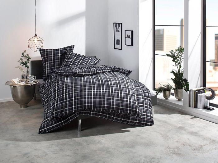 Bettwäsche grau schwarz weiß kariert 100% Baumwolle