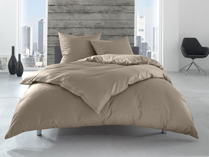 Bettwaesche-mit-Stil Linon 100% Baumwolle Hotelbettwäsche Lia mit Reißverschluss uni anthrazit braun