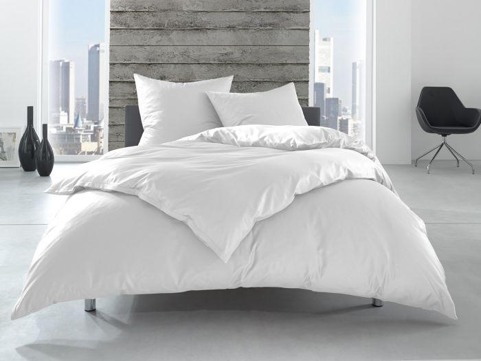 Bettwaesche-mit-Stil Linon 100% Baumwolle Hotelbettwäsche Lia mit Reißverschluss uni weiß einfarbig