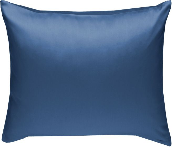 Mako Satin Kissenbezug uni jeans blau - viele Größen